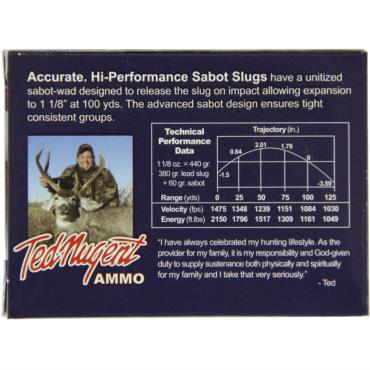 CLOSEOUT - TED NUGENT 20GA 2 3/4IN 1 1/8OZ SABOT LEAD SLUG