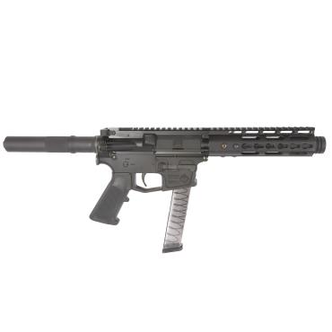 "ATI AR15 MILSPORT USED HGA  BILLET LOWER FORGED UPPER 9MM 5.5"" BBL 7"" KM HANDGUARD FLASHCAN 31RD MAG"